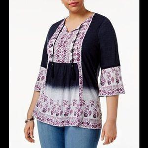 Style & Co Plus Size Bohemian Peasant top 3X